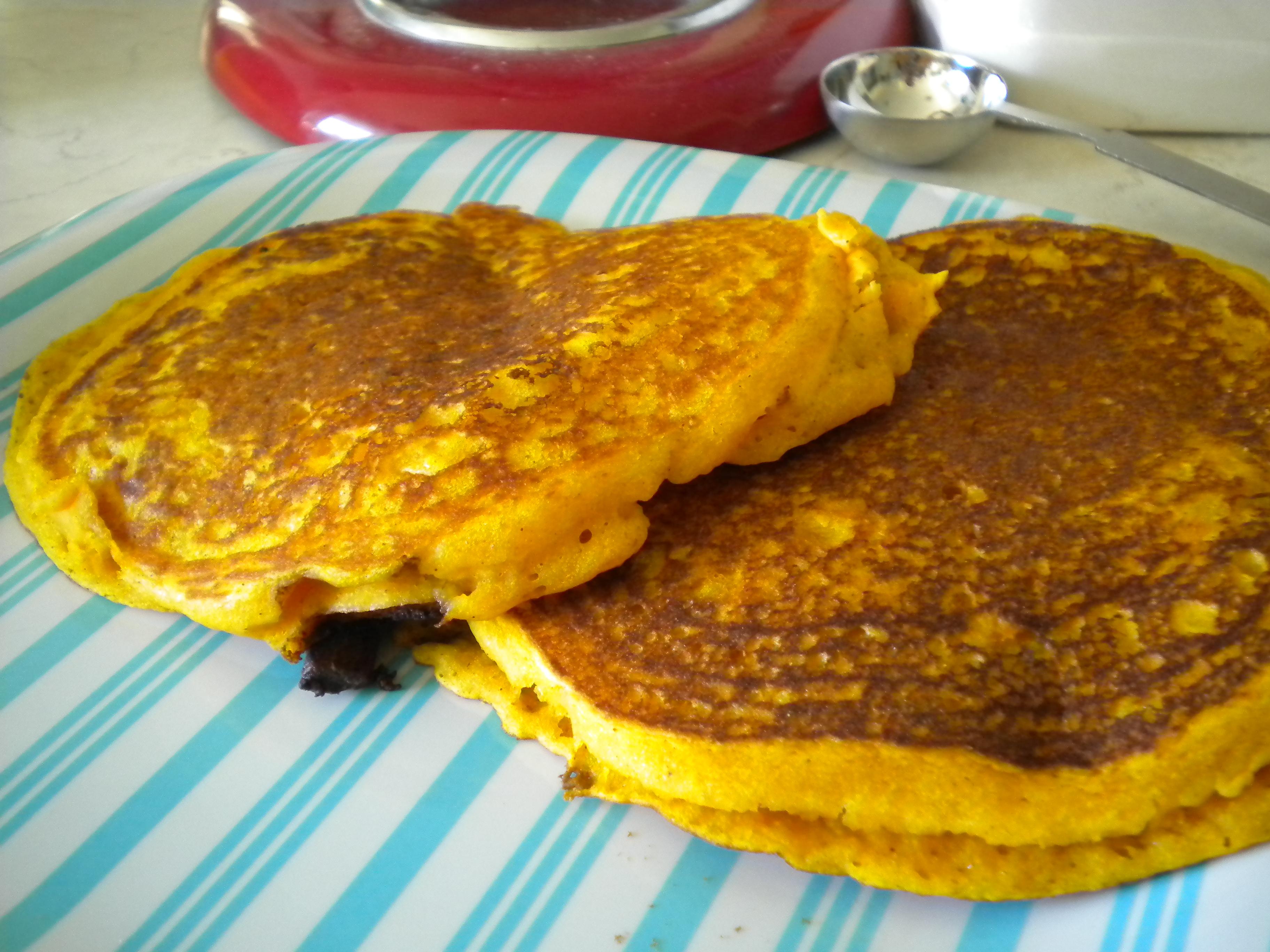 Pumpkin Chocolate Chip Pancakes   Delightfully Gluten Free (TM)
