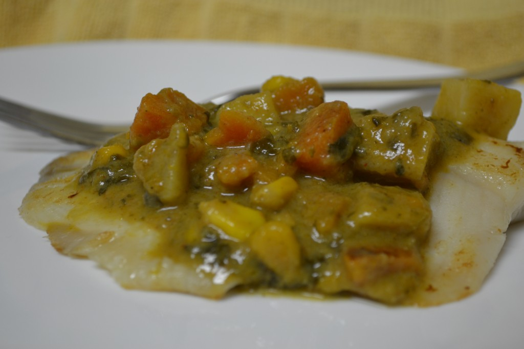 Vegetable Korma over Fish