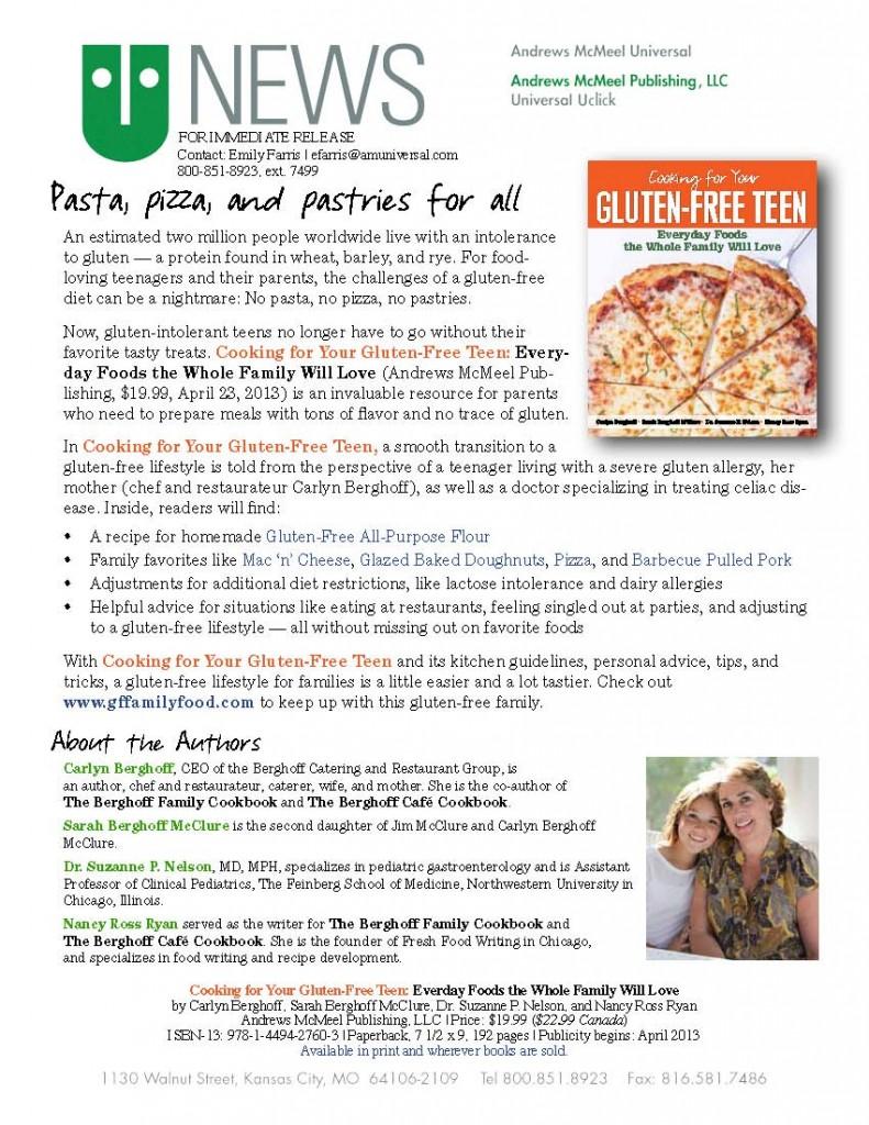 Gluten-Free Teen Press Release